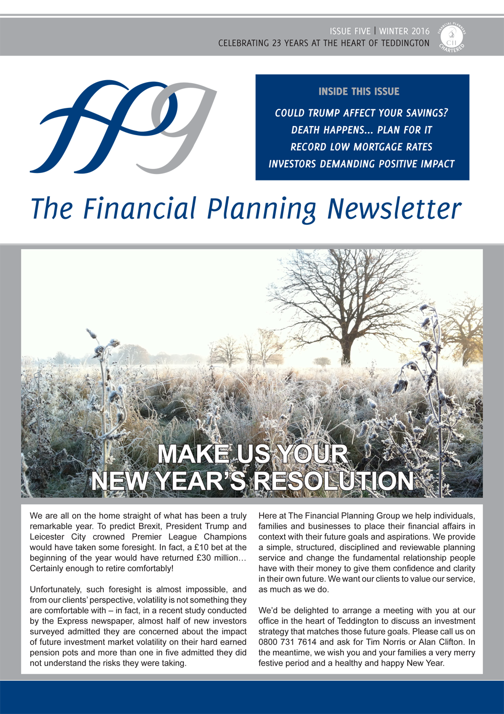 The Financial Planning Newsletter – December 2016 Edition